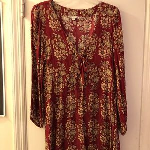 AE Red Floral Long-Sleeved Dress